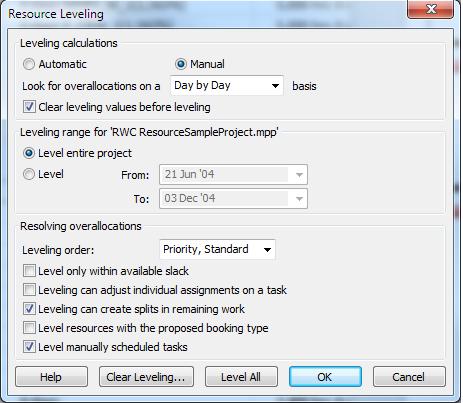 Figure 7: Resource Leveling Options