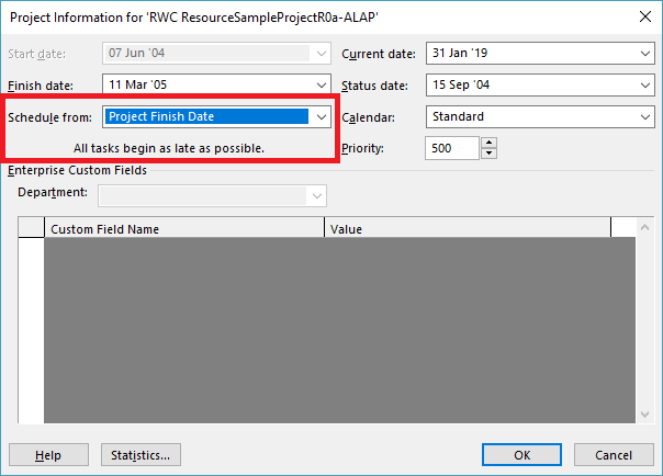 Driving Logic in Backward Scheduled Projects (Microsoft Project)