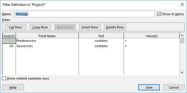 How to Filter for Leads and Lags in Microsoft Project
