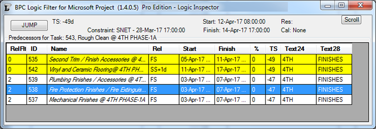 Inspecting Task Links with BPC Logic Filter for Microsoft Project