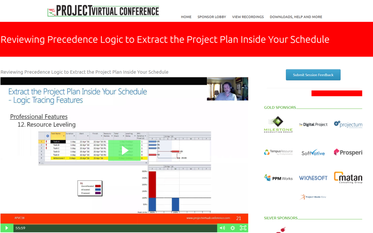 Extract the Logic Plan Inside Your Schedule – Project Virtual Conference 2018